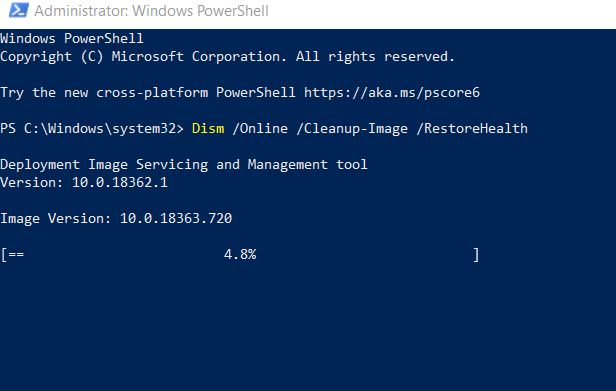 DISM command on powershell window