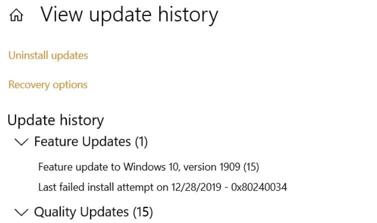 Fix Error 0x80240034 While Updating Windows 10 to Version 1903 and 1909