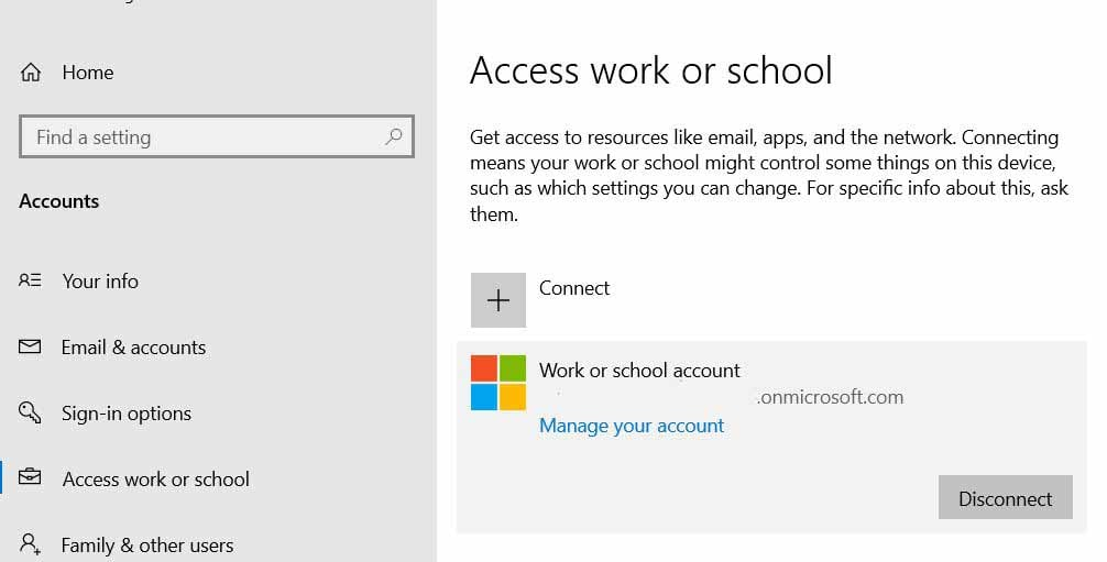 Disconnect work or school Account